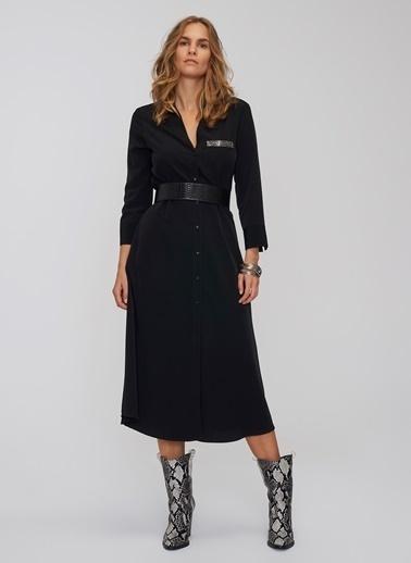 People By Fabrika Cep Detaylı Bağlamalı Gömlek Elbise Siyah